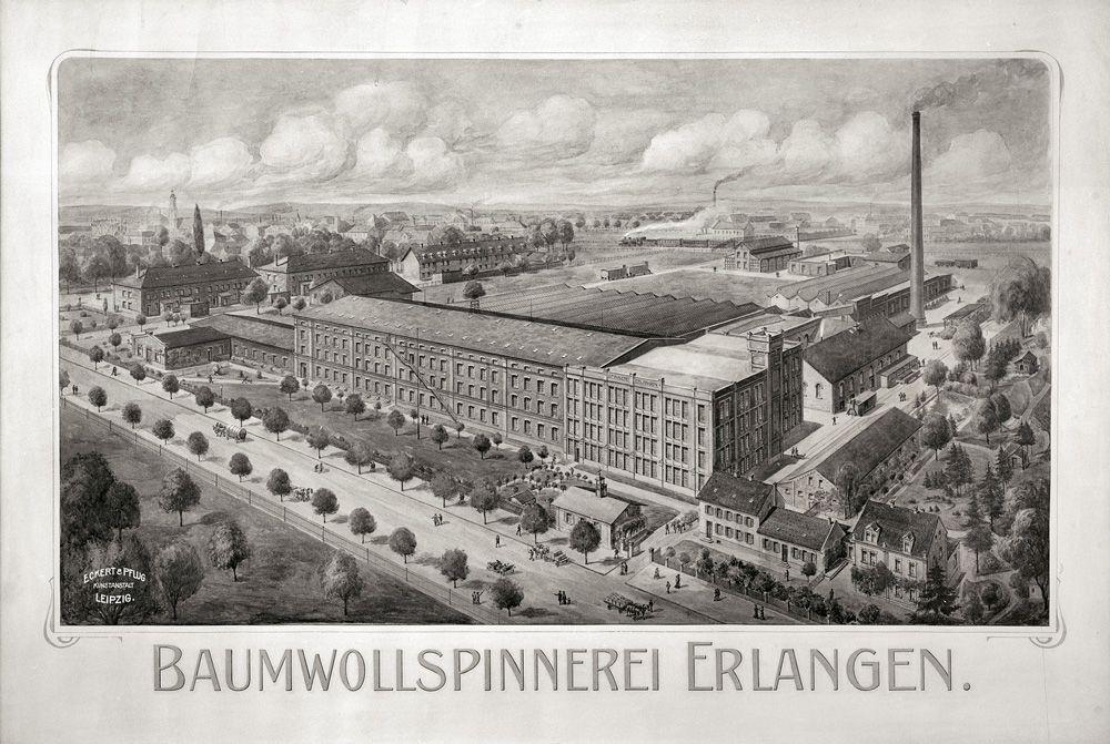 Historische Aufnahme der Baumwollspinnerei aus dem Stadtarchiv