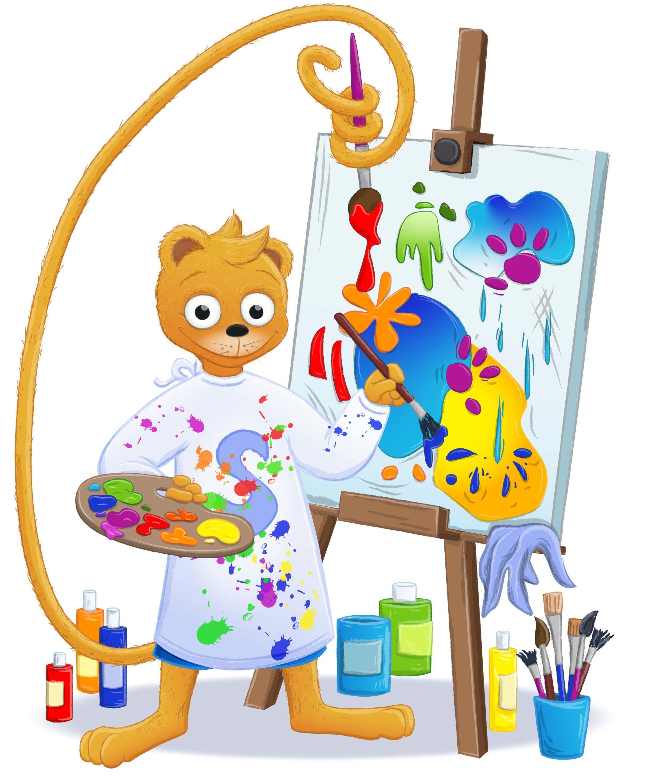 Simson malt auf einer Staffelei und ist voller Farbklekse