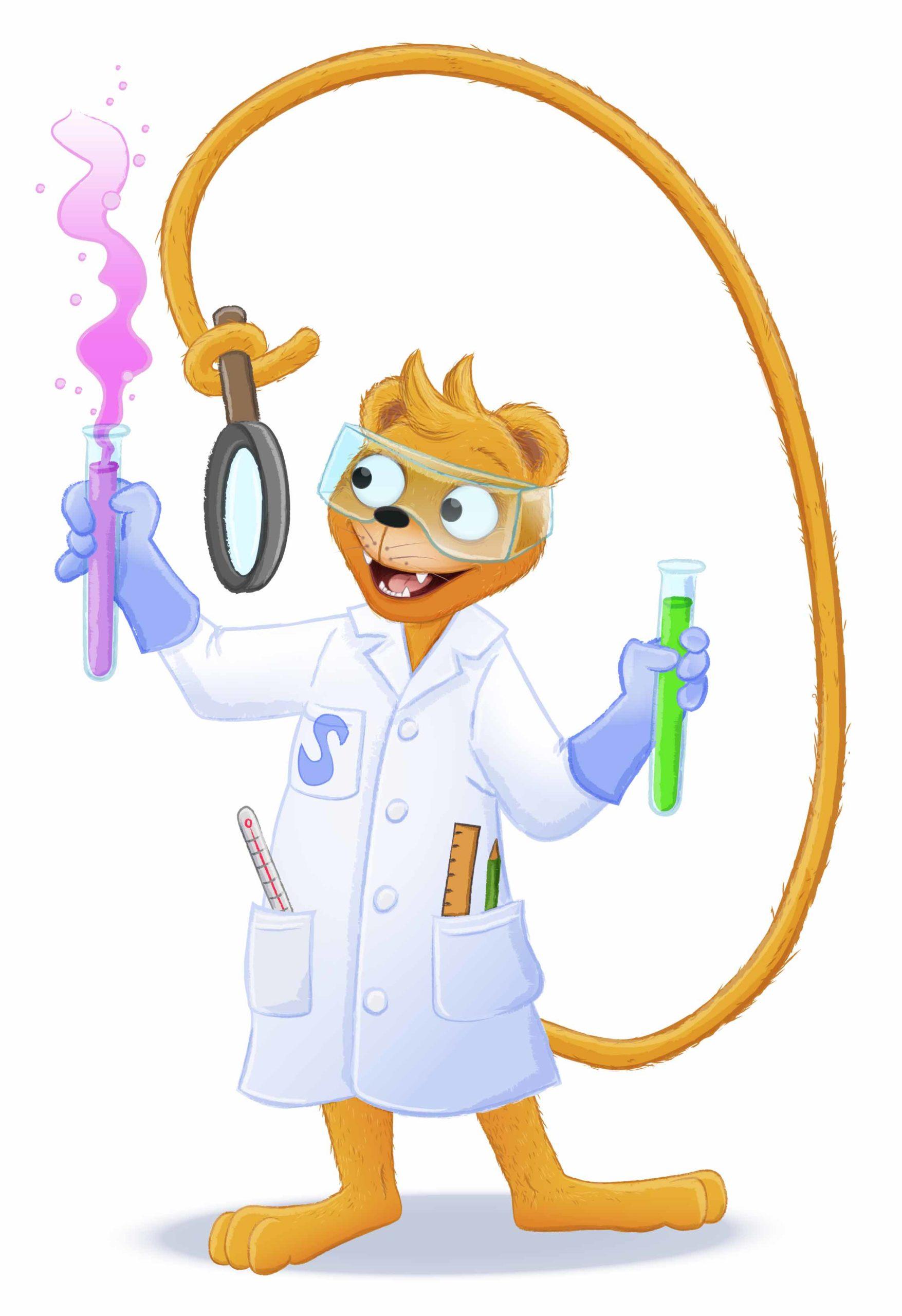 Simson als Forscher mit Reagenzgläsern und Lupe