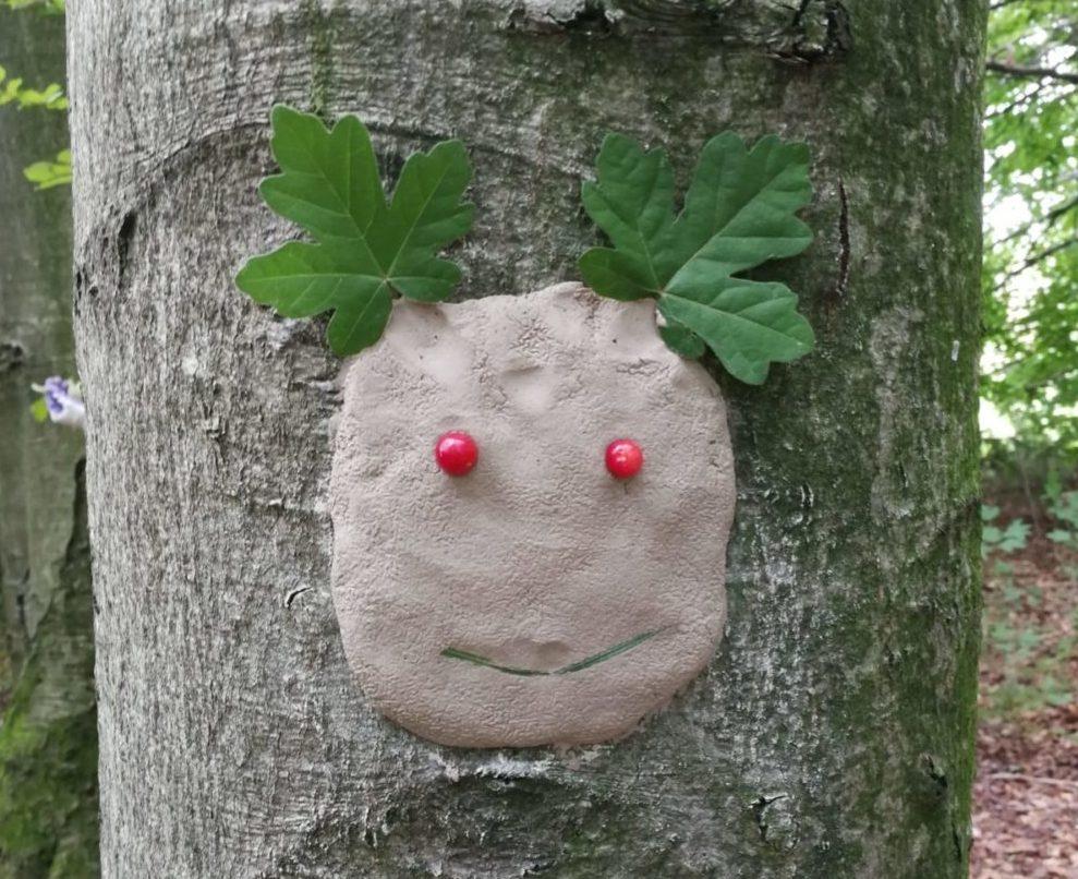 Ein lustiges Gesicht aus Naturmaterialien